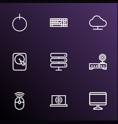 hardware icons line style set with server start vector image
