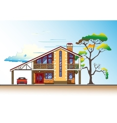 House tree and clouds graphics vector image