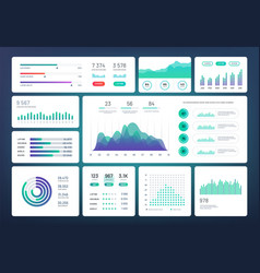 Infographic dashboard template simple green blue vector