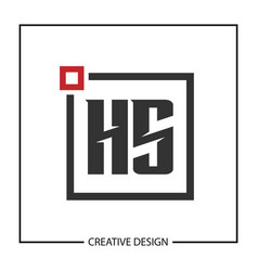 initial hs letter logo template design vector image