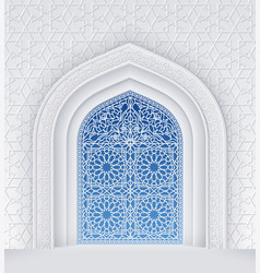 Islamic design arch with ornate doors vector