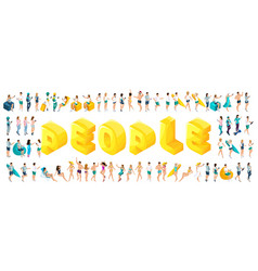 isometric letters of people a large set of teenag vector image