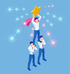 Isometric teamwork businessmen pyramid to reach vector