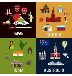 Japan Russia India and Australia travel icons vector image