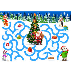 Kids labyrinth with christmas cartoon characters vector