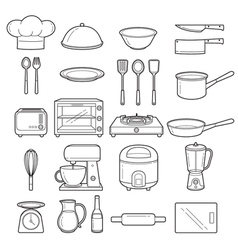 Kitchen Equipment Outline Icons Set vector image