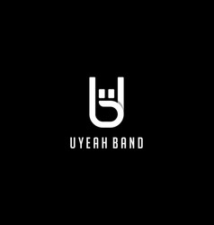 Letter u and b with rock hand logo design concept vector