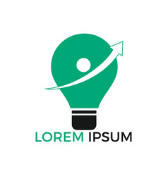 light bulb with arrow logo design vector image