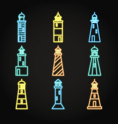 Lighthouse icon set in glowing neon style vector