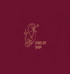 Line logo seahorse for a jewelry store vector