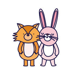 little fox and rabbit cartoon character on white vector image