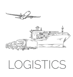 Logistics sign with plane trucks and container vector
