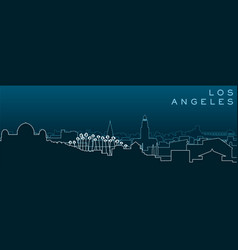 Los angeles multiple lines skyline and landmarks vector