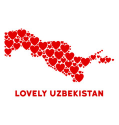 Love uzbekistan map composition of hearts vector