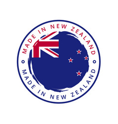 made in new zealand round label vector image
