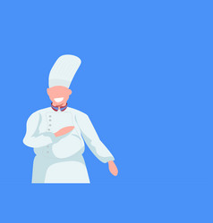 male cook chef man in white uniform food cooking vector image