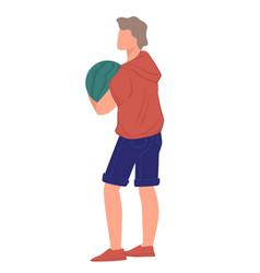 Man harvesting or choosing watermelon at store or vector