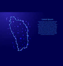 Map dominica from the contours network blue vector