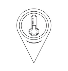 Map pointer thermometer icon vector
