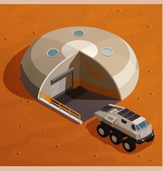 Mars colonization isometric design concept vector