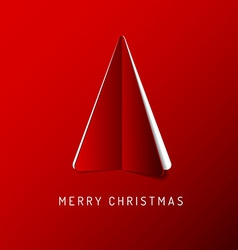 Merry Christmas card with a red tree made from vector