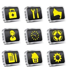 metal web icon set vector image