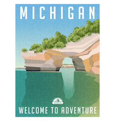 Michigan united states travel poster vector