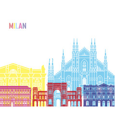 Milan skyline pop vector