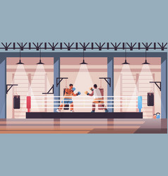 mix race boxers fighting on boxing ring dangerous vector image