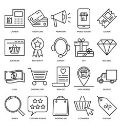 Online shop icon set in line style vector