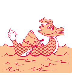 Orange dragon rice dumpling paddling sea festiva vector