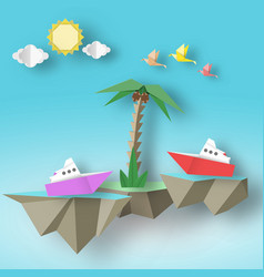 Paper birds steamship palm and 3d fly island vector