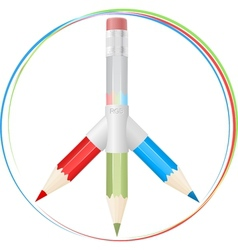 Peace symbol with RGB pencils vector image