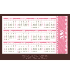 Pocket Calendar 2016 start on Sunday vector image