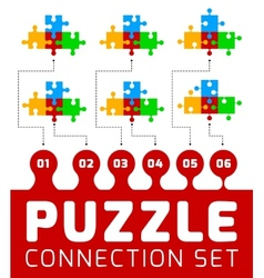 Puzzle connection set vector image