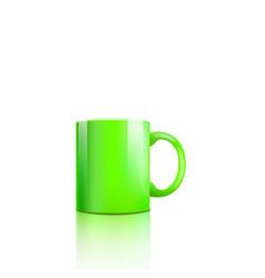realistic green mug mockup with glossy surface and vector image
