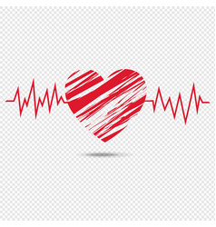 Red heart symbol isolated transparent background vector
