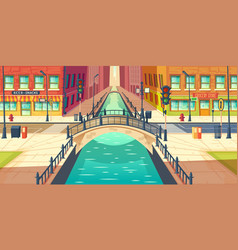 Retro bridge in city historical center vector