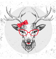 Retro hipster animal deer hand drawing muzzle vector