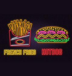 retro neon hot dog and french fries sign on brick vector image