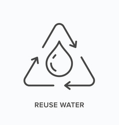 Reuse water flat line icon outline vector