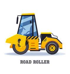 Road roller construction or asphalt paving machine vector