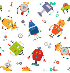 Robots seamless pattern children robo background vector