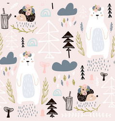Seamless pattern with bear floral elements vector