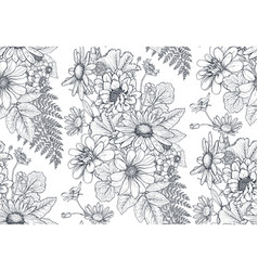 seamless pattern with hand drawn herbs and vector image