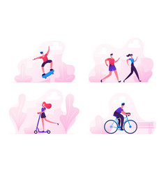 Set characters sports activity during covid 19 vector