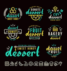 Set of dessert labels badges and icons vector image