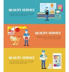 Set of Quality Service in Shop Banners vector image