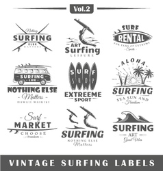 Set of vintage surfing labels Vol2 vector