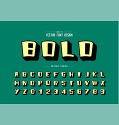 shadow font and cartoon alphabet bold typeface vector image